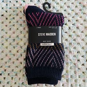 New 2 pairs Steve Madden Women's Boot Socks